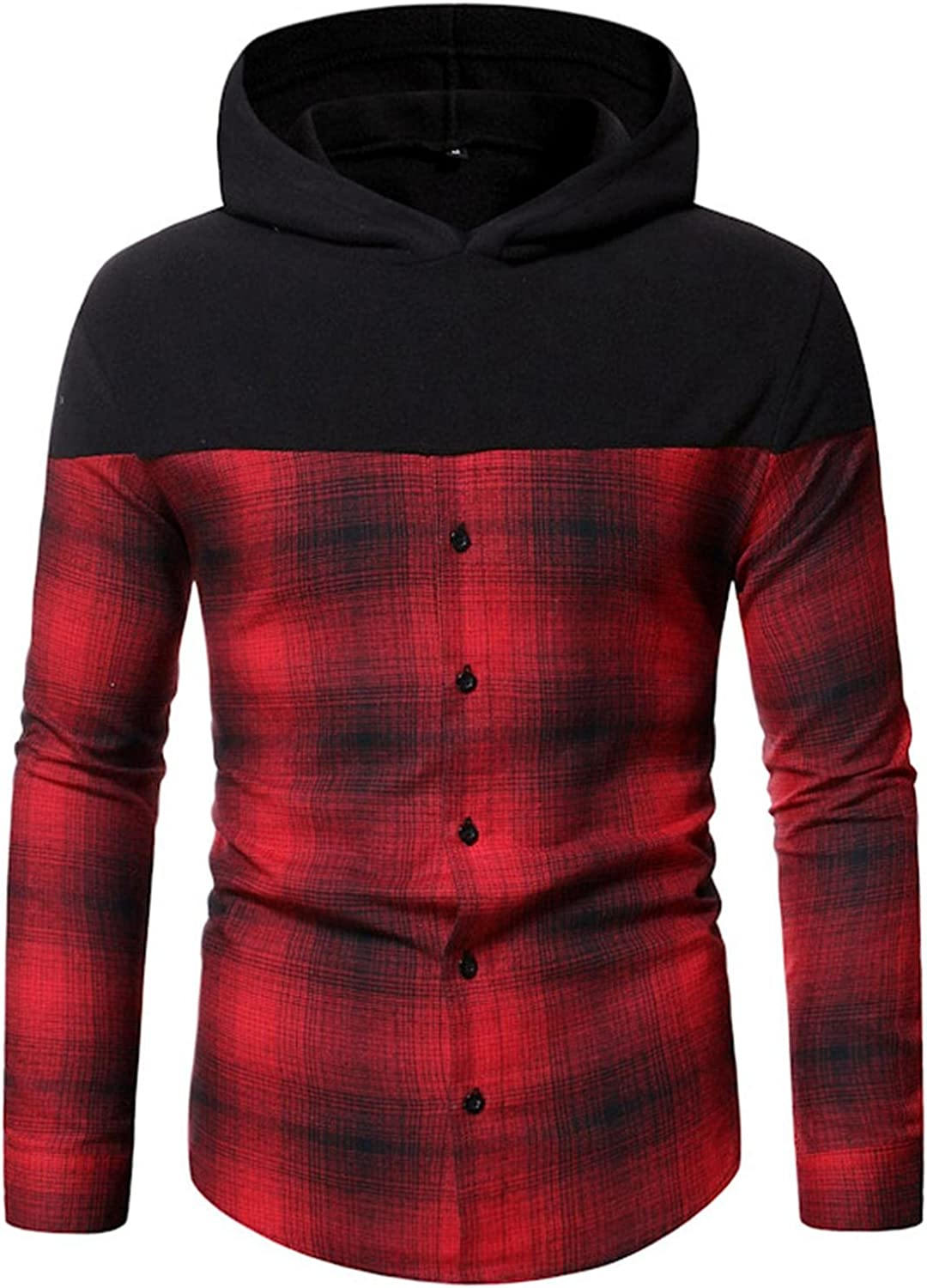 Hoodies for Men,Casual Splicing Hooded Sweatshirt Pullover Plaid Mens Shirts Checked Button Sweatshirt Blouses