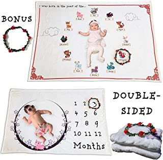 Zodiac Monthly Baby Milestone Blanket   Double Sided Soft Fleece/w Wreath   Year of The Pig 2019 Lunar New Year   Perfect Baby Shower Photo Prop Gift Set for Growing Infant Newborns Boy and Girl