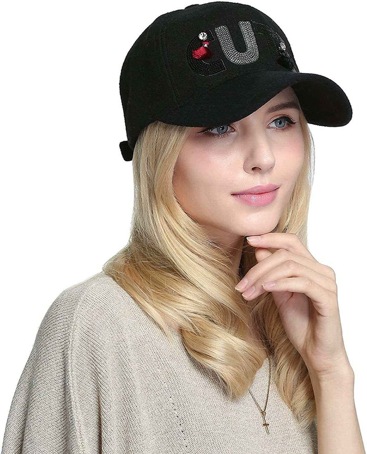 Women's Winter Cute Hiphop Hat Skull Baseball Caps Sports Sun Hats for Students