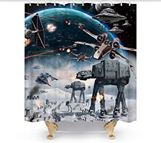Stormtroopers in Star War Movie Galaxy Space Theme Fabric Shower Curtain Sets Kids Bathroom Decor with Hooks Waterproof Washable 72 x 72 inches Grey Black and White