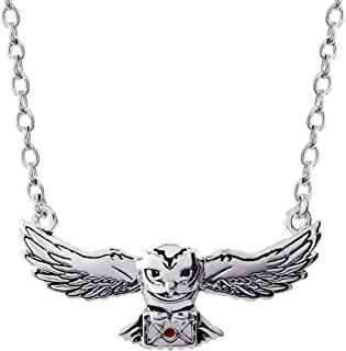 "HARRY POTTER Jewelry, Hedwig Silver Plated Pendant Necklace, 16"" + 2"" Extender Chain"
