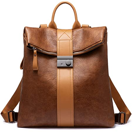 Realer Rucksacktasche Damen, Wasserdichte Handtasche Rucksack 2 in 1, Elegante Rucksackhandtasche als Lederrucksack Cityrucksack, Groß Braun