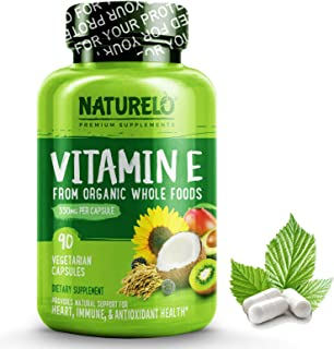 NATURELO Vitamin E - 350 mg (522 IU) of Natural Mixed Tocopherols from Organic Whole Foods - Best Supplement for Healthy Skin, Hair, Nails, Immunity, Eye Health - Non-GMO, Soy free - 90 Vegan Capsules