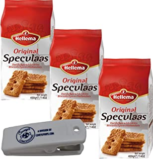 Hellema Speculaas Dutch Cookies - (3-Pack) - 14 oz Bags of Spiced Cookies (Speculoos) from Holland Bundled with Coveys Con...
