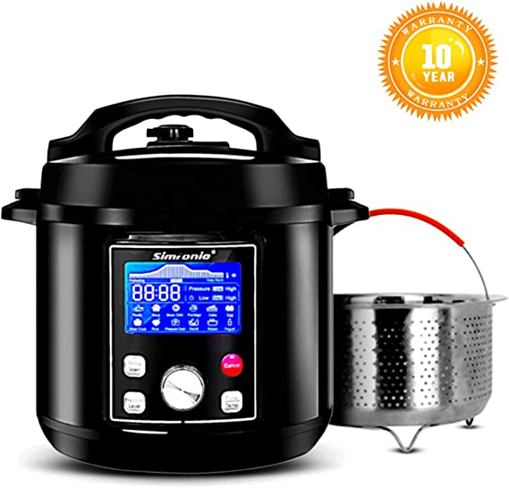 Simfonio Electric Pressure Cooker 6Qt - Simpot 10-in-1 Steamer Pot Rice Cooker Slow Cooker Egg Cooker Multi Cooker Yogurt Maker Cake Maker- Stainless Steel Hot Pot with Pressure Cooker Cookbook