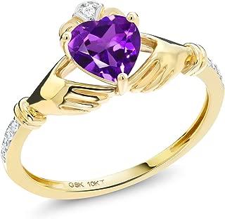 Gem Stone King 0.71 Ct Irish Celtic Claddagh Purple Amethyst Diamond Accent 10K Yellow Gold Ring