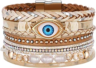 Evil Eye Leather Boho Wrap Stack Bracelets,Cuff Bohemian Multilayer Wide Wrist Magnetic Clasp Buckle Casual Bracelets for Teen Girls Women Boy Gift
