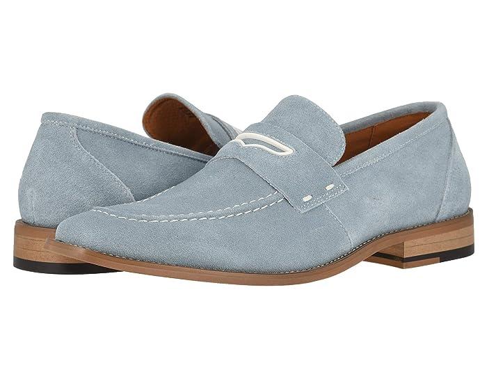 60s Mens Shoes | 70s Mens shoes – Platforms, Boots Stacy Adams Colfax Moc-Toe Slip-On Penny Loafer Chalk Blue Mens Shoes $71.21 AT vintagedancer.com