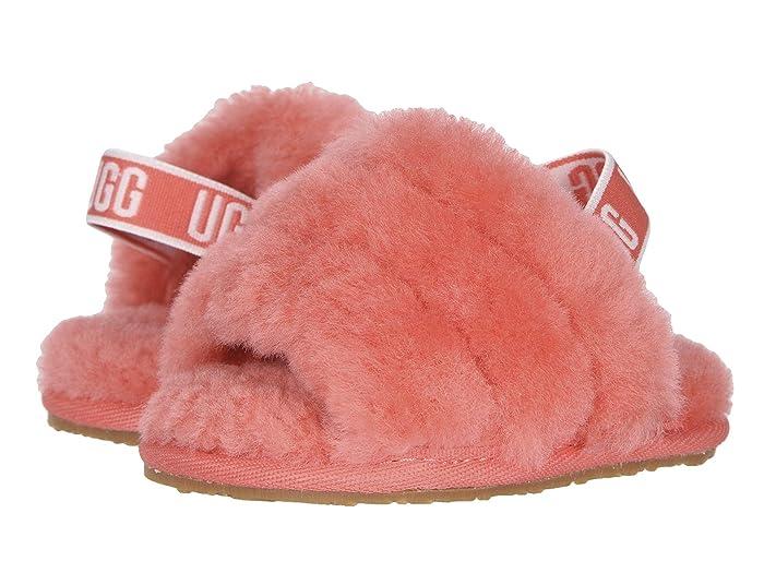 UGG Kids  Fluff Yeah Slide (Toddler/Little Kid) (Pop Coral) Girls Shoes