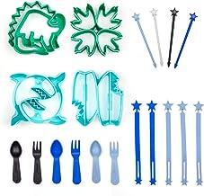 DINOSAUR & SHARK 19 Piece Sandwich Cutter Set, BPA FREE original shapes with Lifetime Replacement Guarantee, Kids Blue Ben...