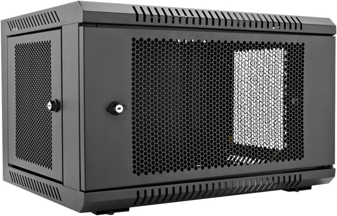 V7 RMWC6U-1N 6U Wall Mount Rack Cabinet Enclosure (Fully assembled, vented door, adjustable mounting rails, cold rolled steel, 5 year warranty), Black