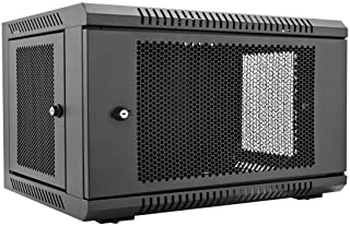V7 RMWC6U-1N 6U Wall Mount Rack Cabinet Enclosure (Fully assembled, vented door, adjustable mounting rails, cold rolled steel, 5 year warranty), Black