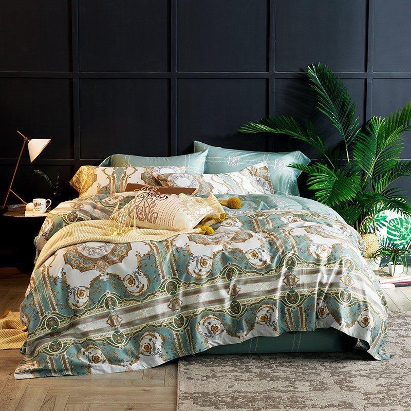 JHロンゲス60ロングベルベットコットン4ピースコットン1.5 mベッドプリントサテンロングステープルコットン1.8 mベッドキルトカバーシーツ4ピース寝具( Kアンジェリーナ、1.5mのベッド(掛け布団カバー200 * 230cm))