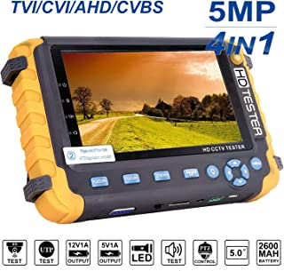 5 Inch 4 in 1 CCTV Monitor Tester, AHD/TVI/CVI Coaxial HD Video Monitor Tester, Analog Video/UTP Cable Test, VGA DC12V Output Camera CCTV Tester
