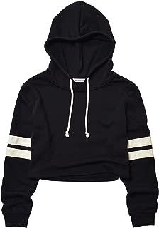 Women's Loose Striped Long Sleeve Crop Top Pullover Sweatshirt Black White