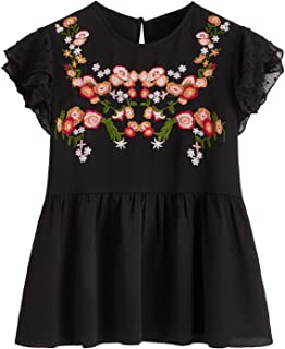Floerns Women's Floral Embroidered Ruffle Sleeve Peplum Blouse Top