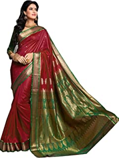 Mirraw Classiques Maroon Hand Woven Silk Blend Saree with Unstitched Blouse