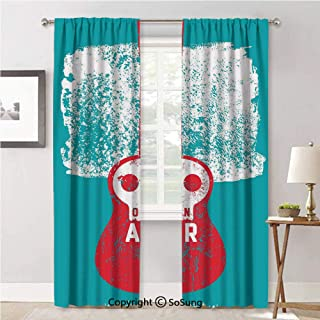 RWN Curtain Curtains Durable Privacy Protected,Open Air Festival Py Guitar Instrument Typography Vintage Grunge Poster Teal Red White,Drapes for Living Room/Bedroom/Kitchen,42x84inch Each,2 Panels