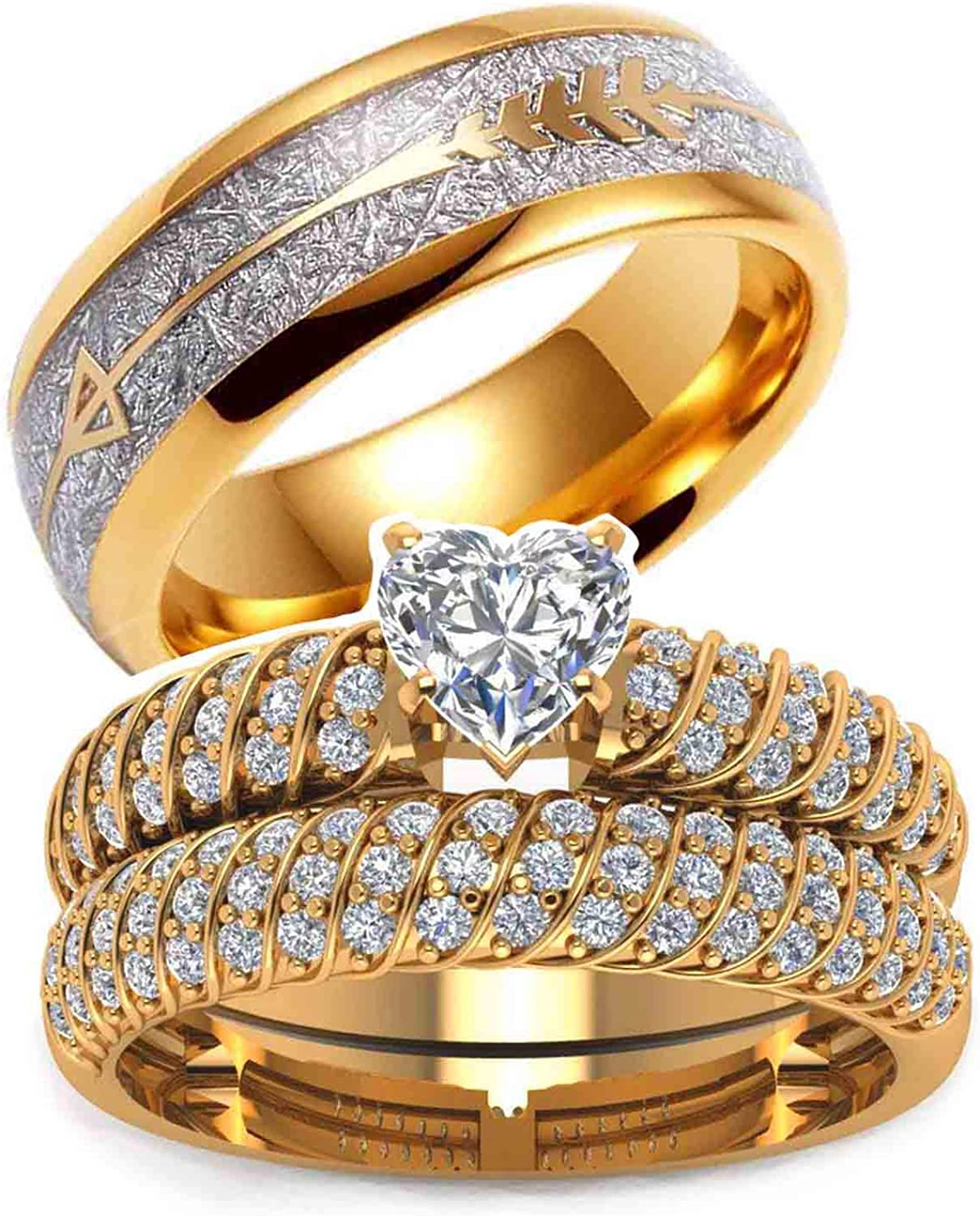 Two Rings His 5 ☆ popular Hers Wedding Ring Sets Y Fort Worth Mall 10k Couples Women's