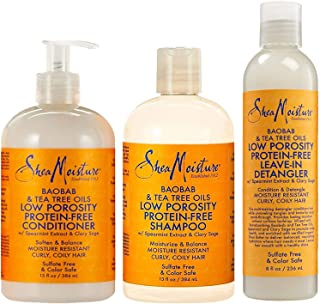 Shea Moisture Baobab & Tea Tree Oils Bundle | Low Porosity Protein-Free Leave-In Detangler 8 Oz, Low Porosity Protein-Free Conditioner for 13 Oz & Low Porosity Protein-Free Shampoo 13 Oz