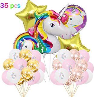 Unicorn Balloons Birthday Party Decorations,Set of 35,Giant Unicorn Foil Balloons, White,Pink,Confetti Gold and Rose Gold Latex Balloons for Unicorn Party Supplies,Multi