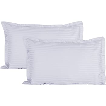 Ahmedabad Cotton Sateen Striped 220TC Cotton Standard 2 Pillow Covers - White