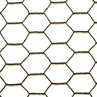 Steel Hex Web DE1522 Fence: Black Vinyl Coated Galvanized Wire Animal Control-2 ft x 150
