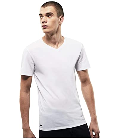 Lacoste 3-Pack V-Neck Slim Fit Essential T-Shirt (White) Men