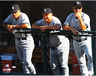 Joe Torre Don Zimmer and Mel Stottlemyre Triple Signed Dugout 16x20 Photo (MLB Auth) - Steiner Sports Certified