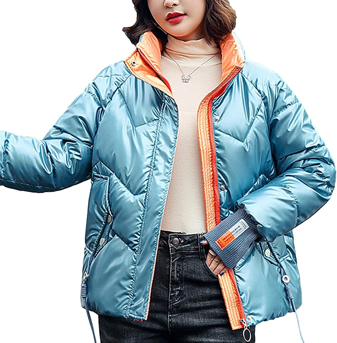 SeekMe Women's Shiny Quilted Down Puffer Jacket Fashion Stand Collar Thicker Parkas Coat
