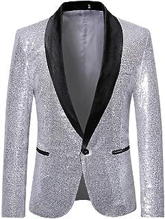 Schoon Mens Pailletten One Button Slim Fit Wedding Club Fashion Blazer Suit Jackets Opgeruimd