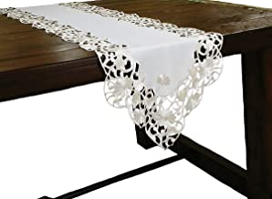 Xia Home Fashions Daisy Lace Embroidered Cutwork Spring Table Runner, 15-Inch by 54-Inch