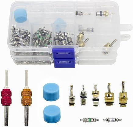 Magiin 108 Pcs AC R134A R12 Núcleos Válvulas Accesorios Tapa de Sistema de Aire Acondicionado Coche