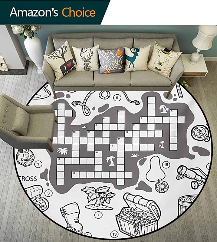 Word Search Puzzle Round Area Rugs Super Soft Living Room Colorless Pirates Themed Educational Puzzle Treasure Map And Icons Bedroom Home Shaggy Carpet Diameter 24 Inch Grey Black White
