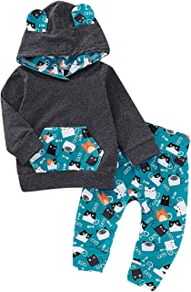 Infant Toddler Baby Boys Clothes Cartoon Cat Cotton Sets Pocket Hoodie+Pants Winter Fall Outfit 2Pcs