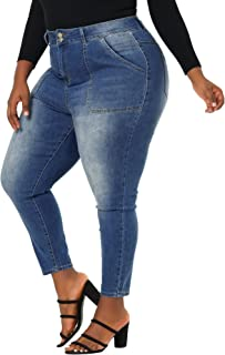 Agnes Orinda Plus Size Denim Jeans for Women Casual Chambray Pants Mid Rise Skinny Jean