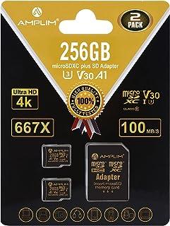 Amplim 256GB 64GB 32GB 2x32GB MicroSDXC Card with Adapter black Black 2X 256GB MicroSD