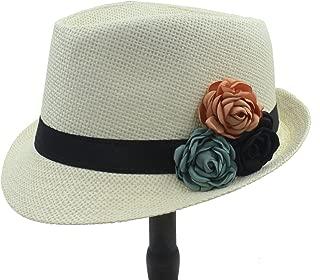 LiWen Zheng Straw Women Boater Beach Sun hat Panama Fedora Hat With Camellia Flower