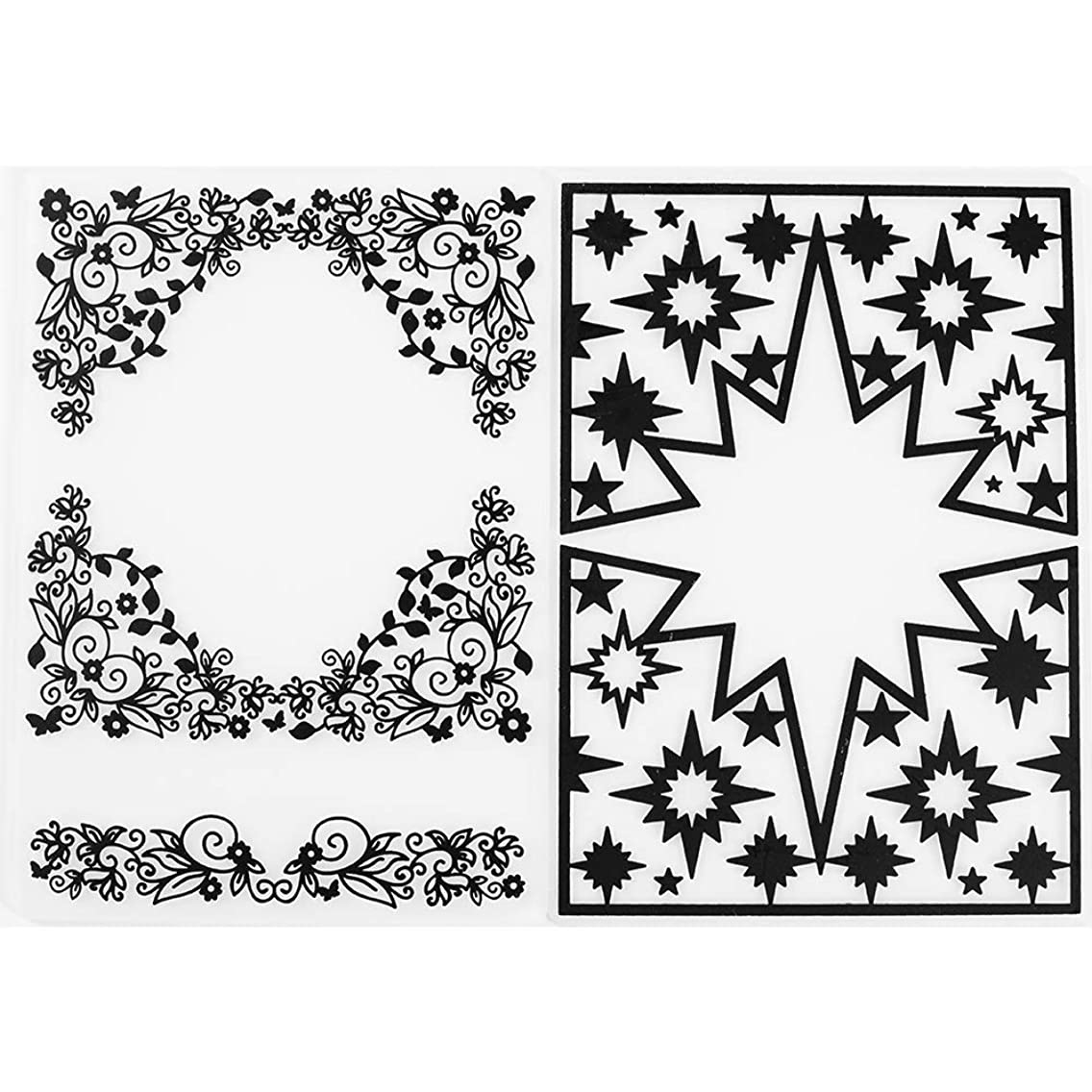 MaGuo Coner and Border Decorative Plastic Embossing Folder Template Leaves Flower and Stars for Card Making Scrapbooking DIY Crafts