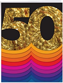 The Best Card Company - Bold Milestones 50th Birthday Card with Envelope (Big 8.5 x 11 Inch) - Congratulations, Happy Bday J6110CMBG