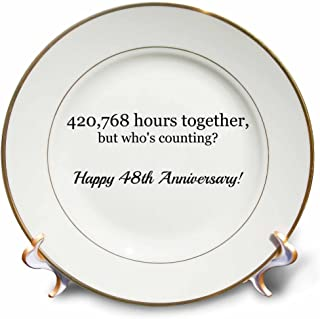 3dRose Happy 48th Anniversary-420768 Hours Together-Porcelain Plate, 8