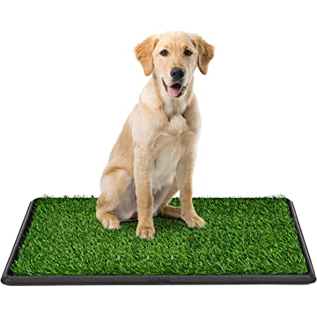 Dog Grass Pad with Tray, Pee Pad Grass Indoor Dog Potty Tray, Puppy Potty Training Grass, Grass Patches for Dogs, Reusable 3 Layered Fake Dog Potty Grass, Easy to Clean