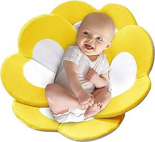 Blivener Flower Baby Bath Mat Foldable Soft Bath Support Baby 0-12 Months Non Slip Bathtub Baby Pads Yellow Flower Baby Ba...