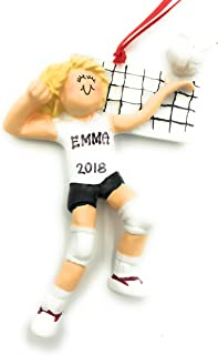 Personalized Blonde Girl Volleyball Christmas Ornament 2019