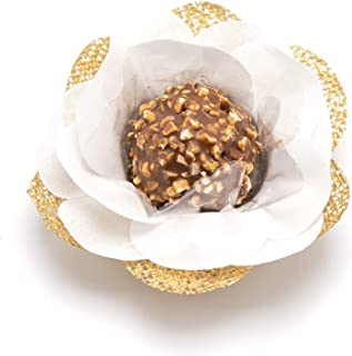 Truffilio Handmade Fabric Truffle Wrappers, Truffle Liners, Truffle Cups for Baby Shower Bridal Shower Birthday Party Wedding - Pack of 20 (Camellia White & Gold)