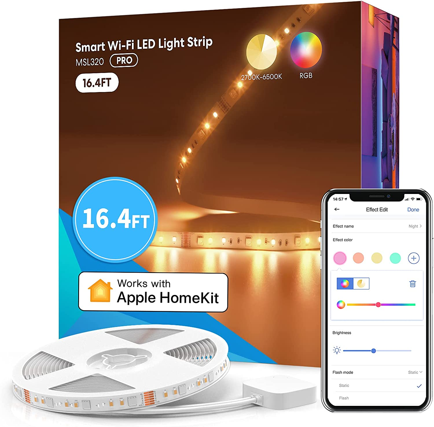 meross Smart Pro LED Strip Lights, 16.4ft RGBW WiFi LED Strip Work with Apple HomeKit, Alexa, Google Home and SmartThings, Warm and Cool White, Led Lights for Bedroom, TV, Party [Upgrade Version]