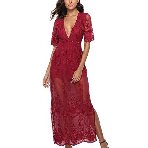 2d4308500bd4 PORALA Women s Short Sleeve Lace Long Dress See Through Deep V-Neck Maxi  Romper Dress