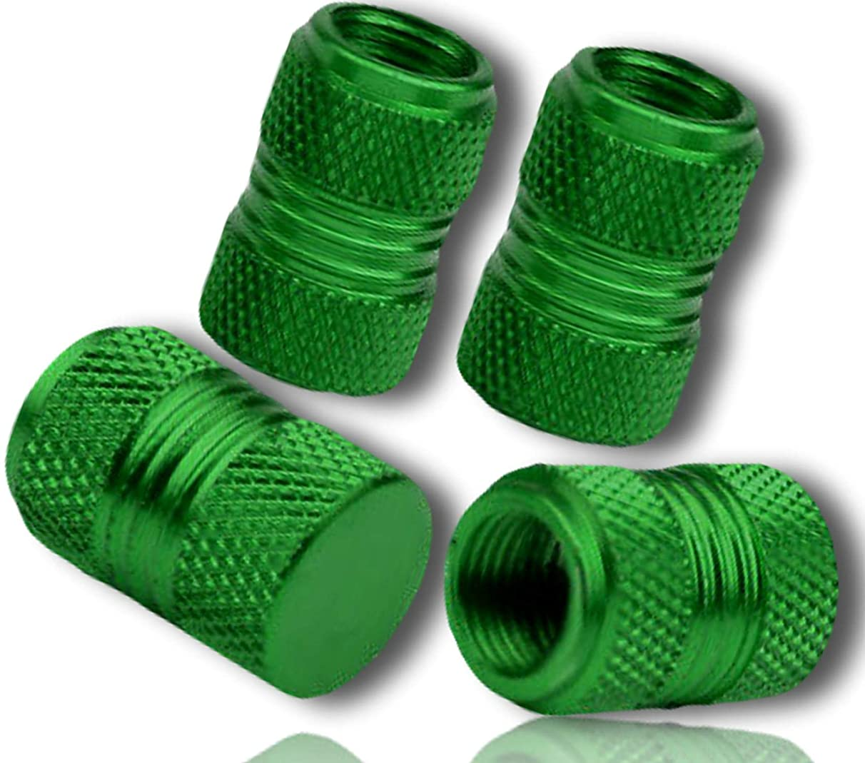 (4 Count) Custom Tire Wheel Rim Valve Stem Dust Cap Cover Seal w/ Easy Grip Texture, Made of Rust Proof Aluminum Metal w/ Smooth Anodized Knurled Diamond Etched Shiny Reflective {Green} + Certificate