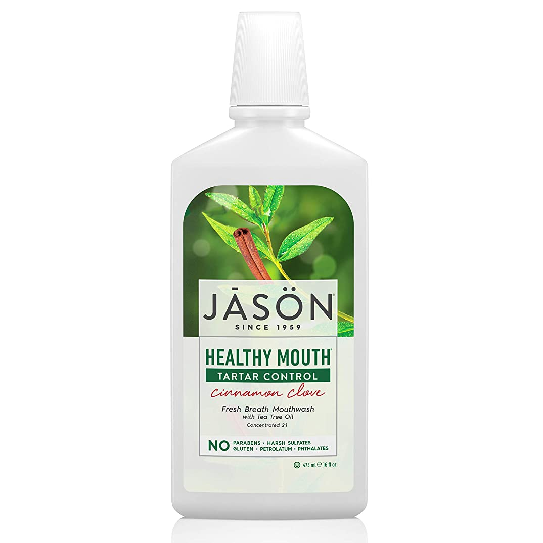 原子いくつかの咳Jason Natural, Healthy Mouth, Tartar Control, Cinnamon Clove, 16 fl oz (473 ml)