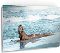 Smile Art Design Brigitte Bardot Lying Naked on The Beach and Waves Splashing in her Nude Colored Wall Art Metal Print Sexy French Icon Metal Decor Wall Decor Ready to Hang - 16x24